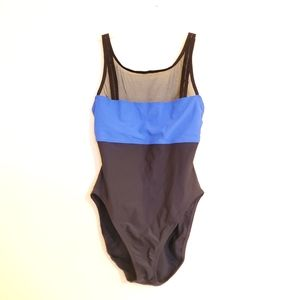 Anne Cole Collection Onepiece Blue Black Mesh